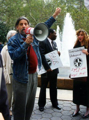 September 29, 1994 — Bob Zuss speaking at union contract rally in City Hall Park.